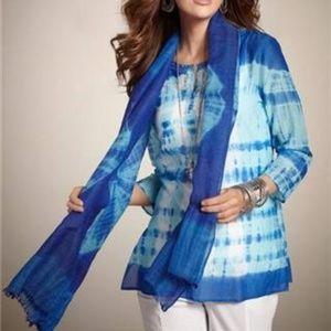 Loyal Blue Surfer Diamond Tie-Dyed Wool/Silk Scarf